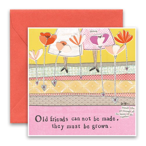 Old friends greeting card curly girl design m4hsunfo
