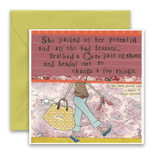 Packed Up Her Potential Greeting Card Curly Girl Design