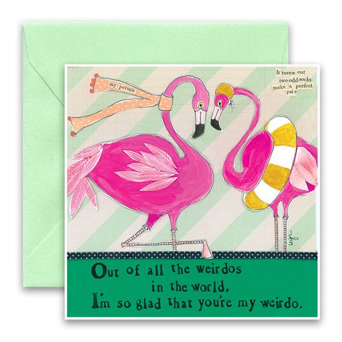 Flamingo greeting card curly girl design m4hsunfo