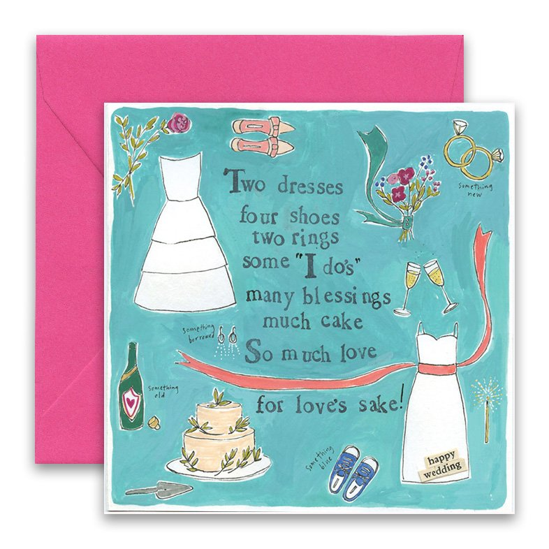 two dresses greeting card curly girl design