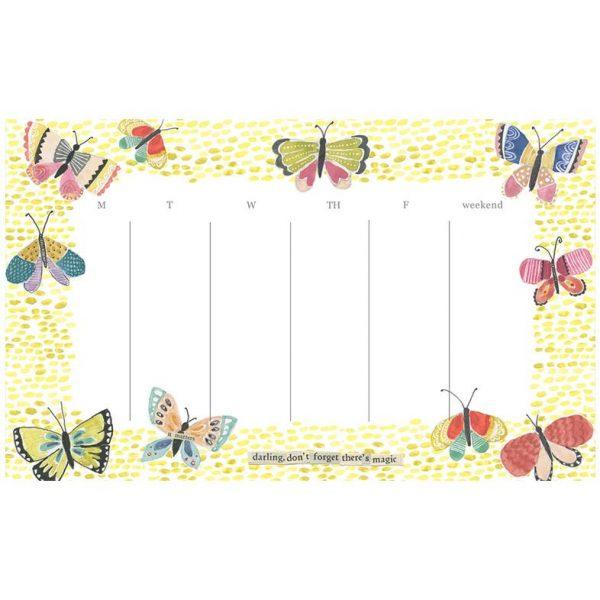 Butterfly Weekly Calendar Pad