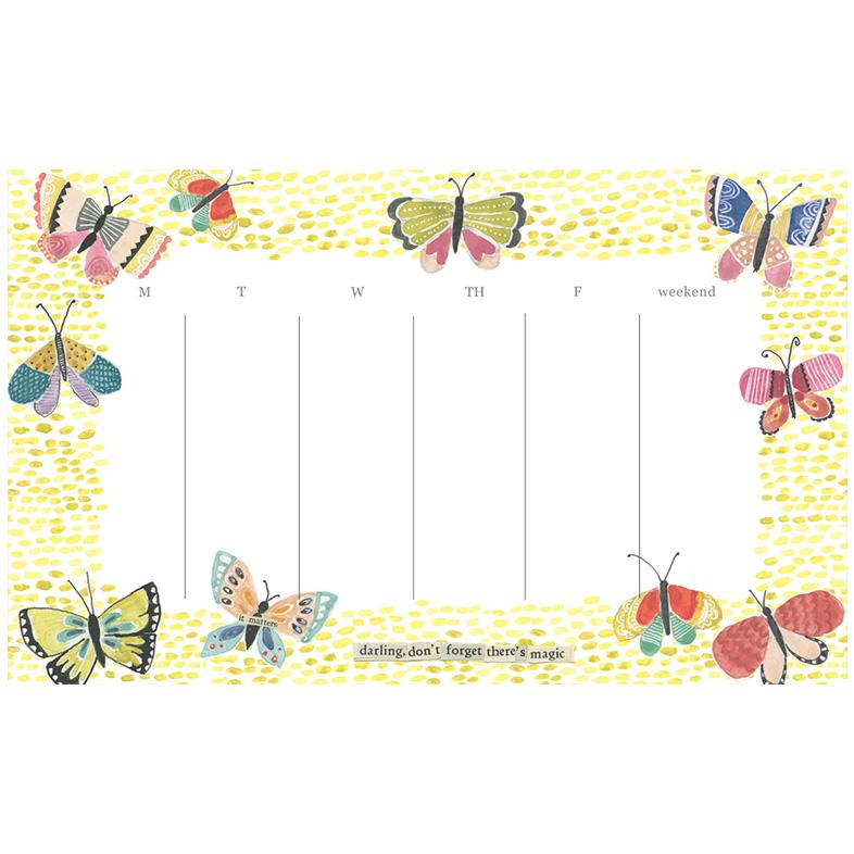 Butterfly Weekly Calendar Pad
