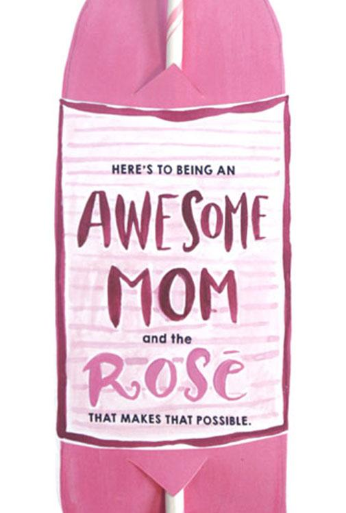 Awesome Mom Bottle Straw Card