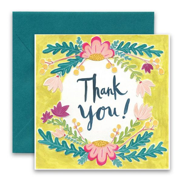 Flowered Thank You Greeting Card