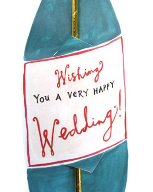 Happy Wedding Champagne Wine Straw Card