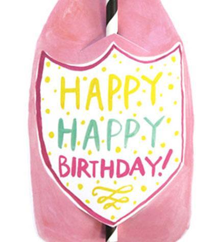Happy Happy Birthday Split Wine Straw Card