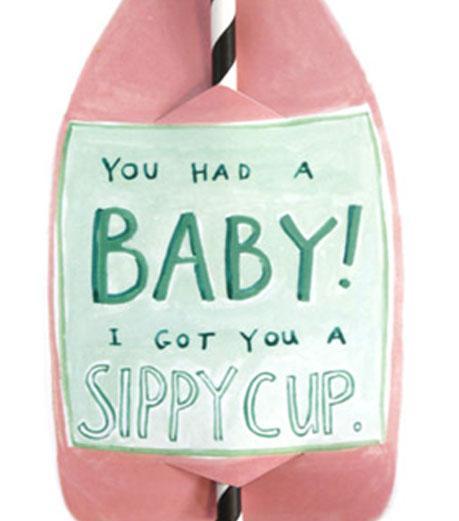 Sippy Cup Split Wine Straw Card
