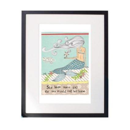 Mermaid Heart Matted Print