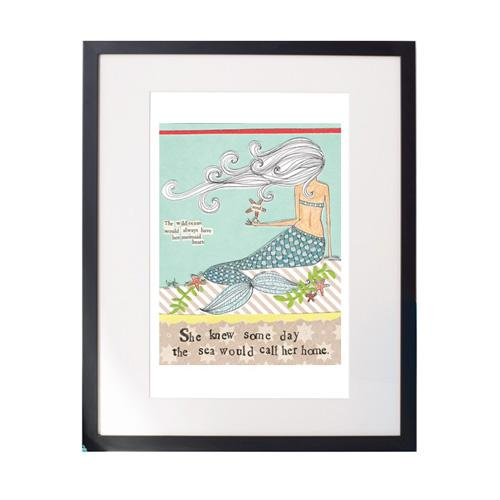 Mermaid Heart Matted Print