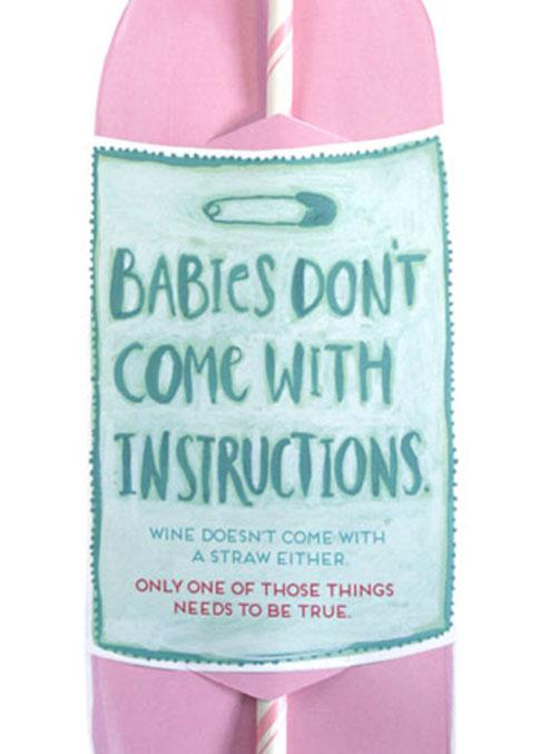 Baby Instructions Rose Wine Straw Card