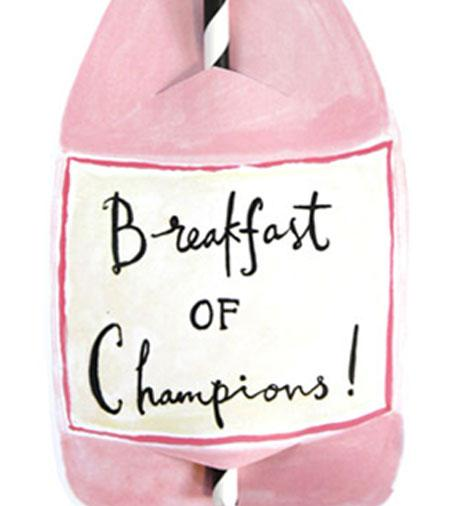 Breakfast Of Champions Split Wine Straw Card
