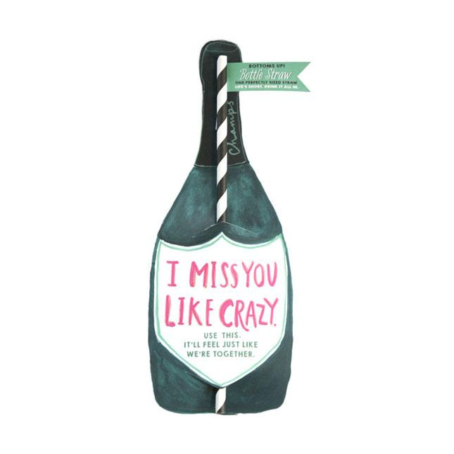 Miss You Wine Split Straw Card
