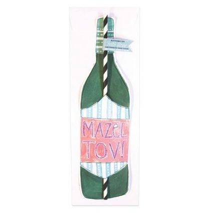 Mazel Tov Wine Straw Card