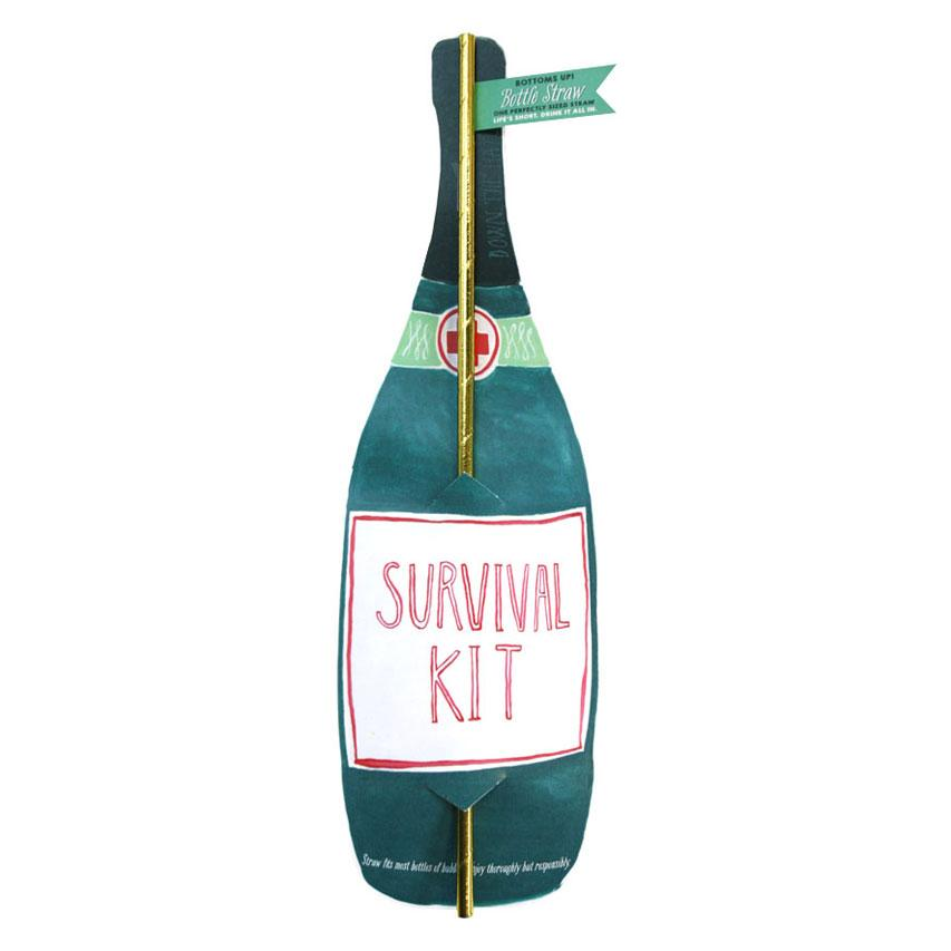 Survival Kit Champagne Wine Straw Card