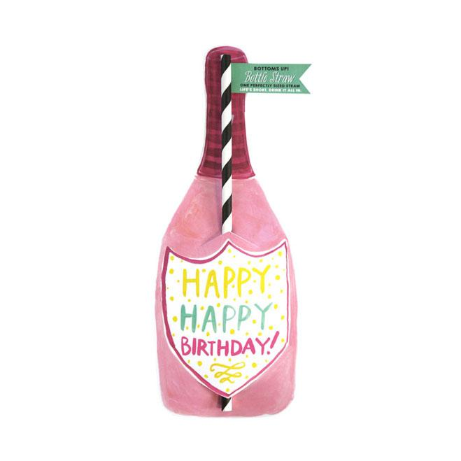 Happy Happy Birthday Split Wine Straw Card