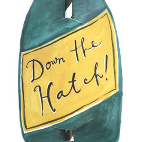 Down The Hatch Split Wine Straw Card