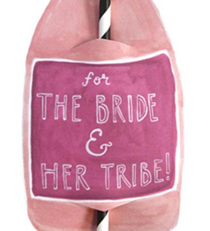 Bride Tribe Split Wine Straw Card