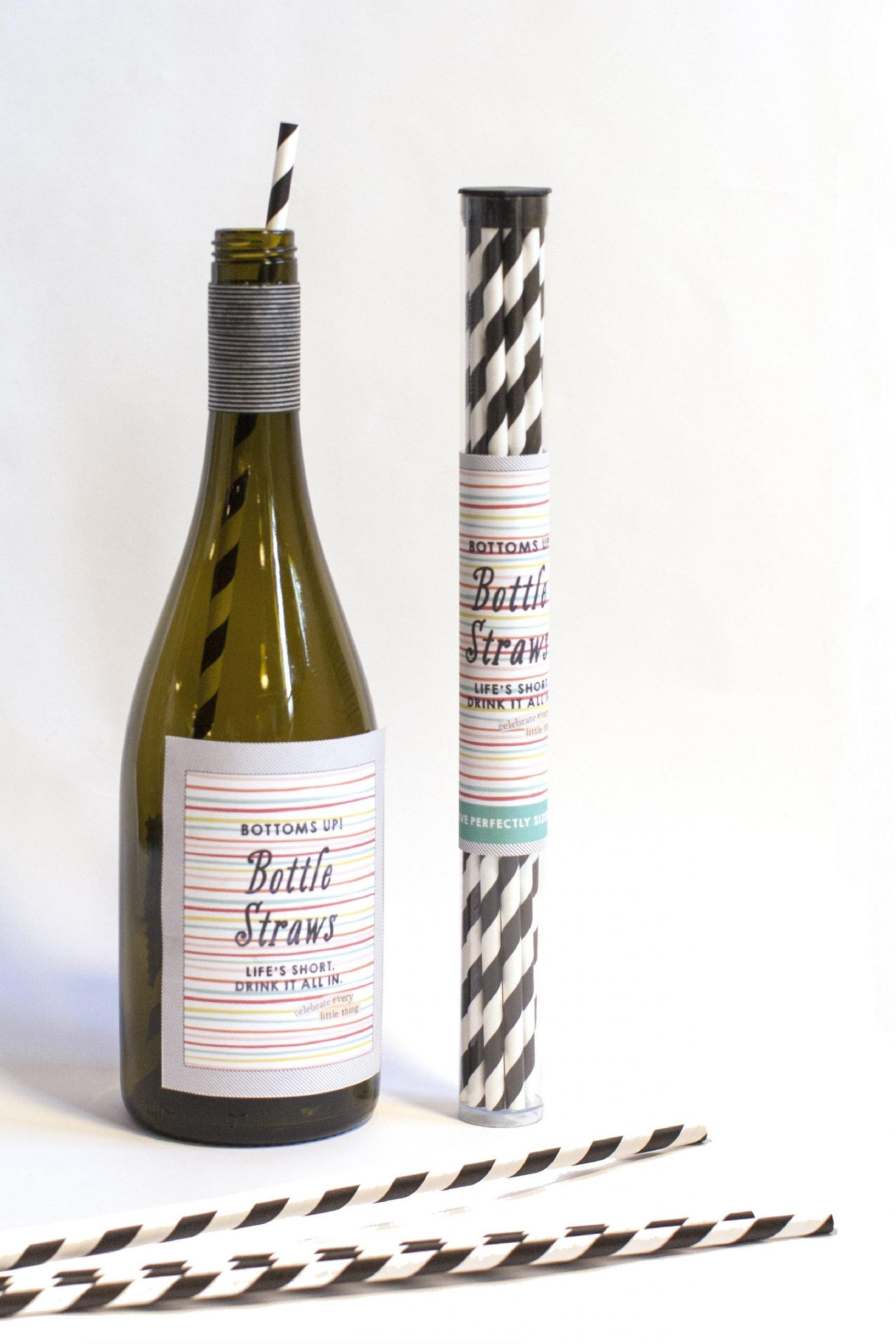 Striped Wine Straw Pack