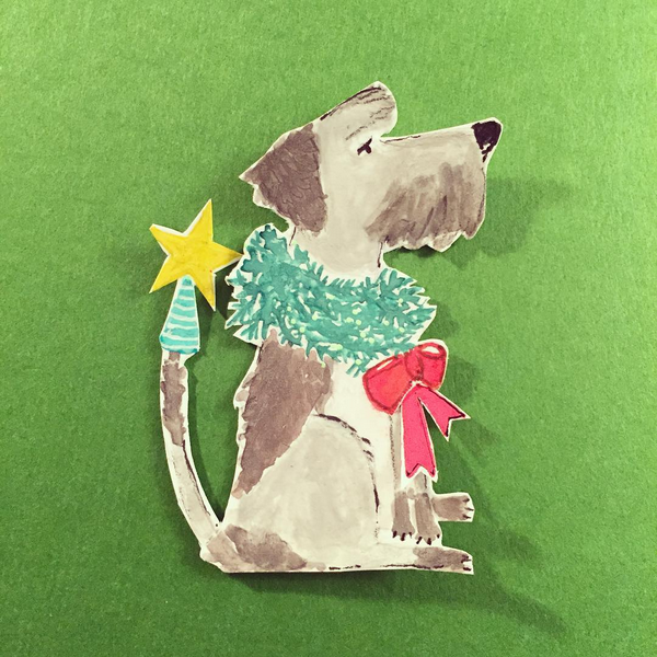 Grey Pup Holiday Listpad
