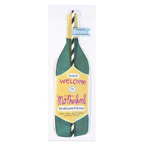 Motherhood Wine Straw Card