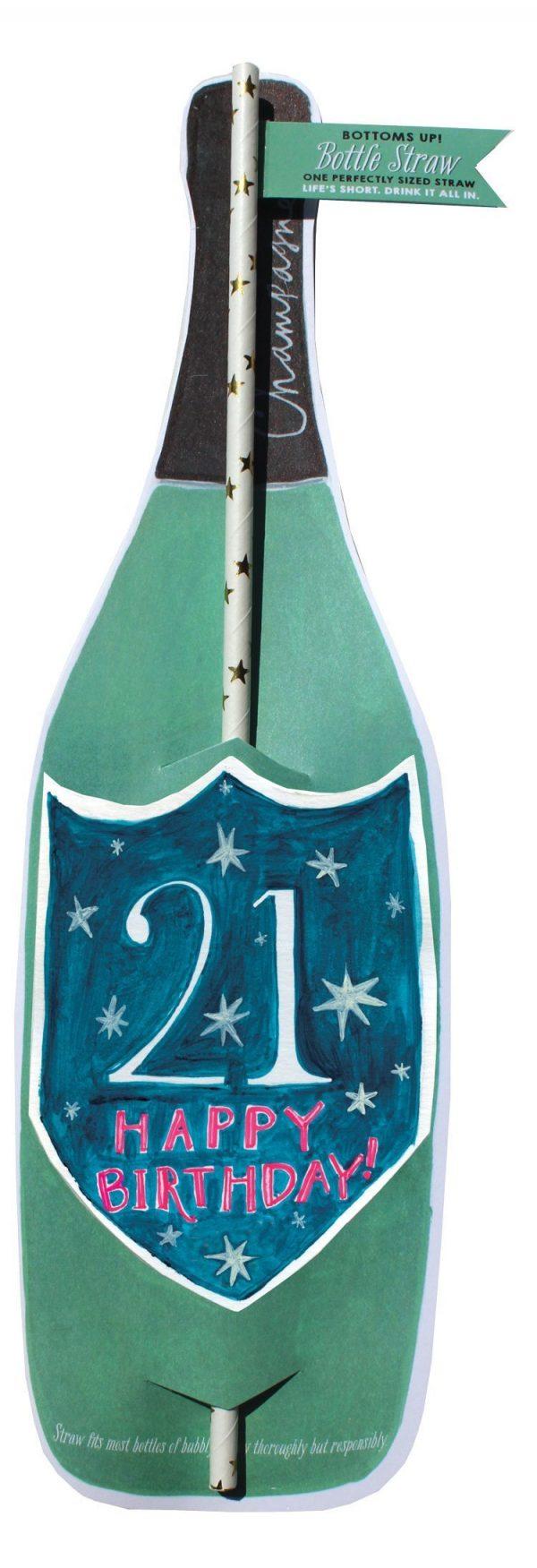 21St Birthday Wine Bottle Straw Card
