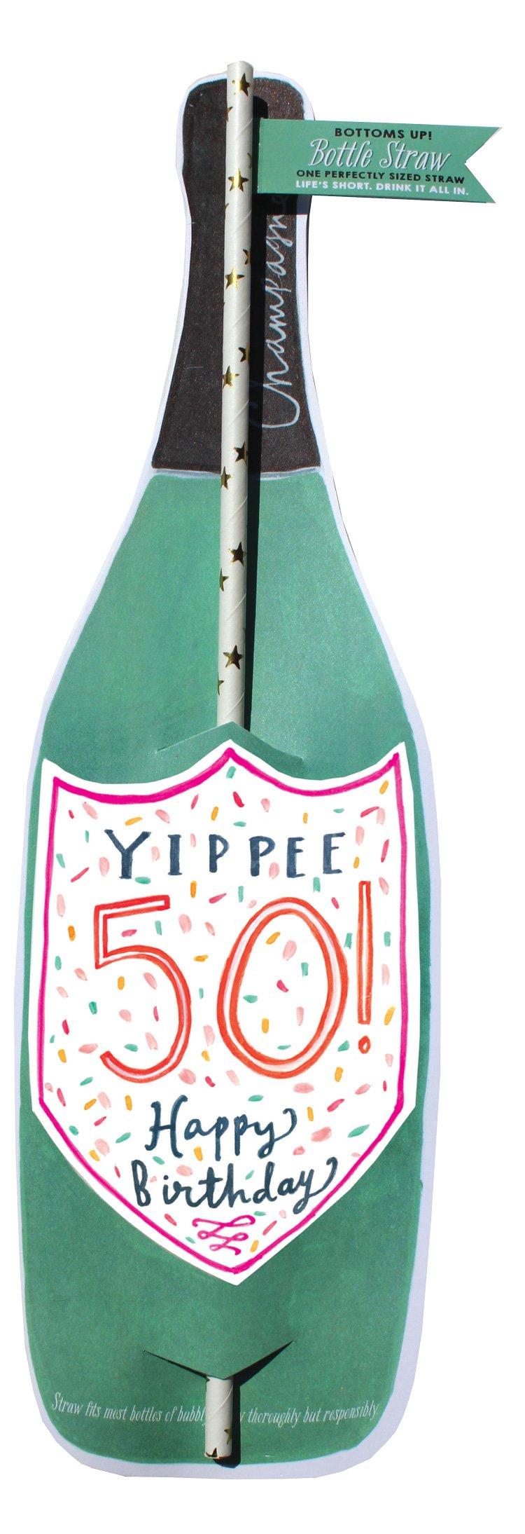 50Th Birthday Wine Bottle Straw Card