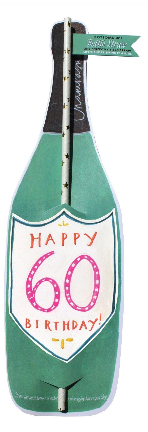 60Th Birthday Wine Bottle Straw Card