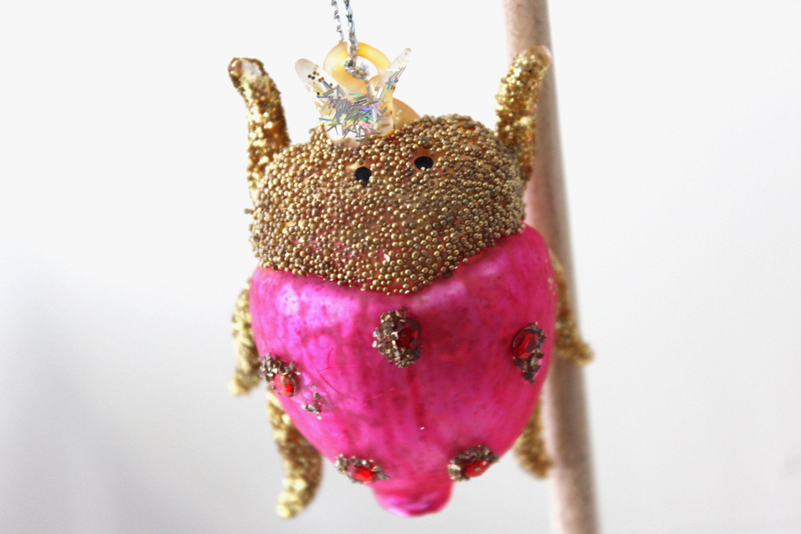 Magenta Beetle Ornament SALE Half Off Holiday