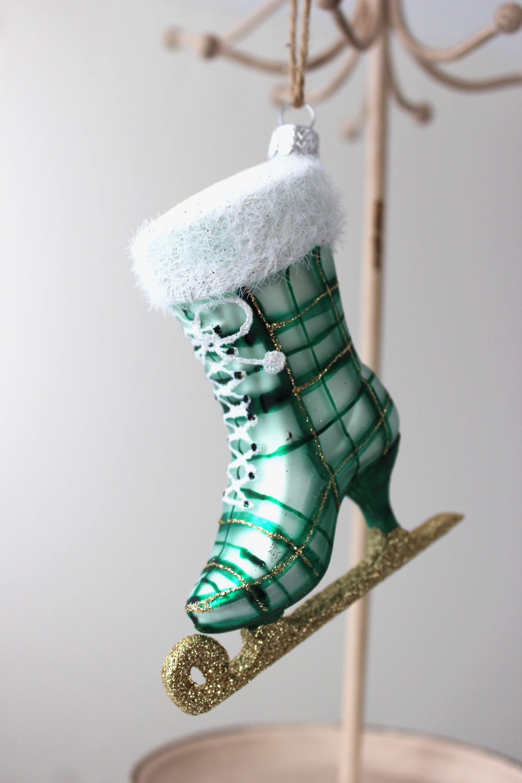 Ice Skating in the Park Ornament - Green