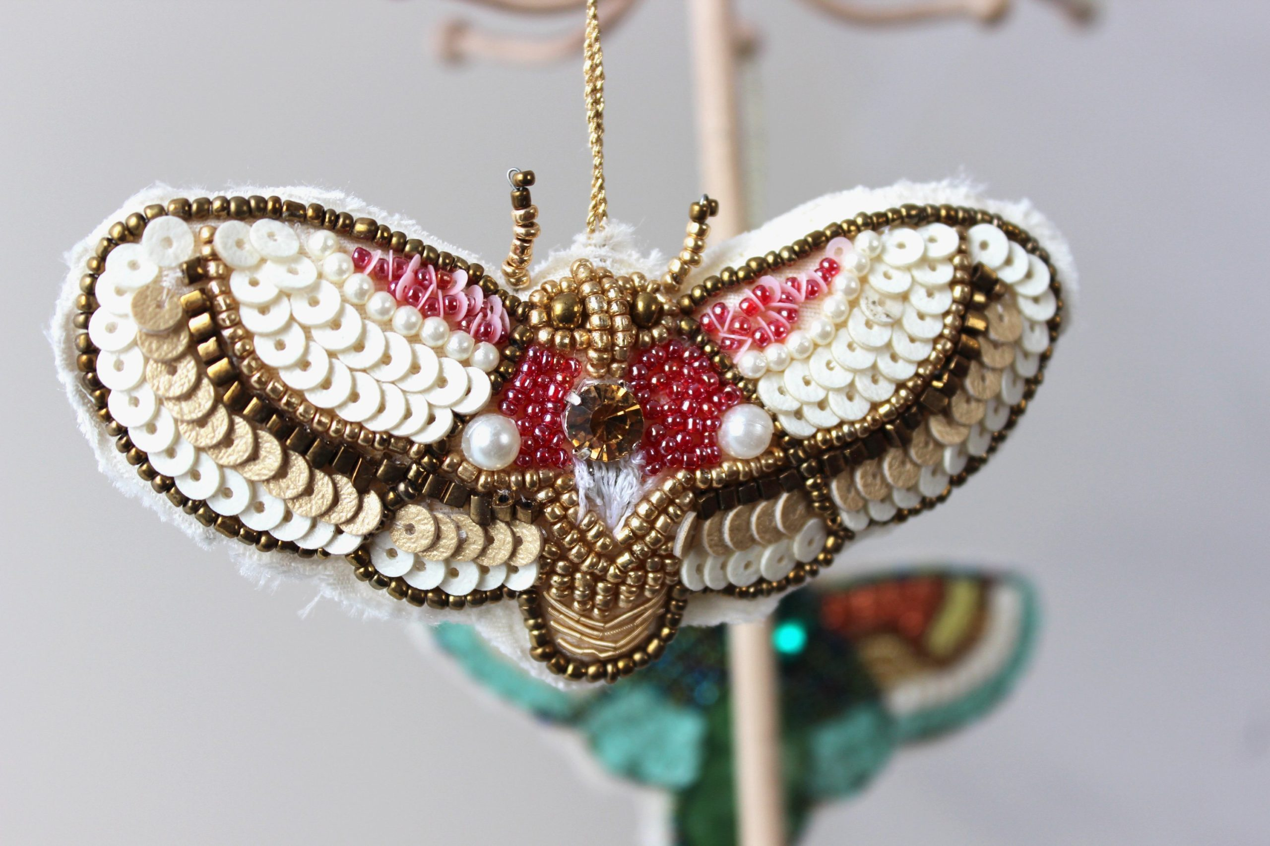 Rose Beaded Moth Ornament SALE Half Off Holiday