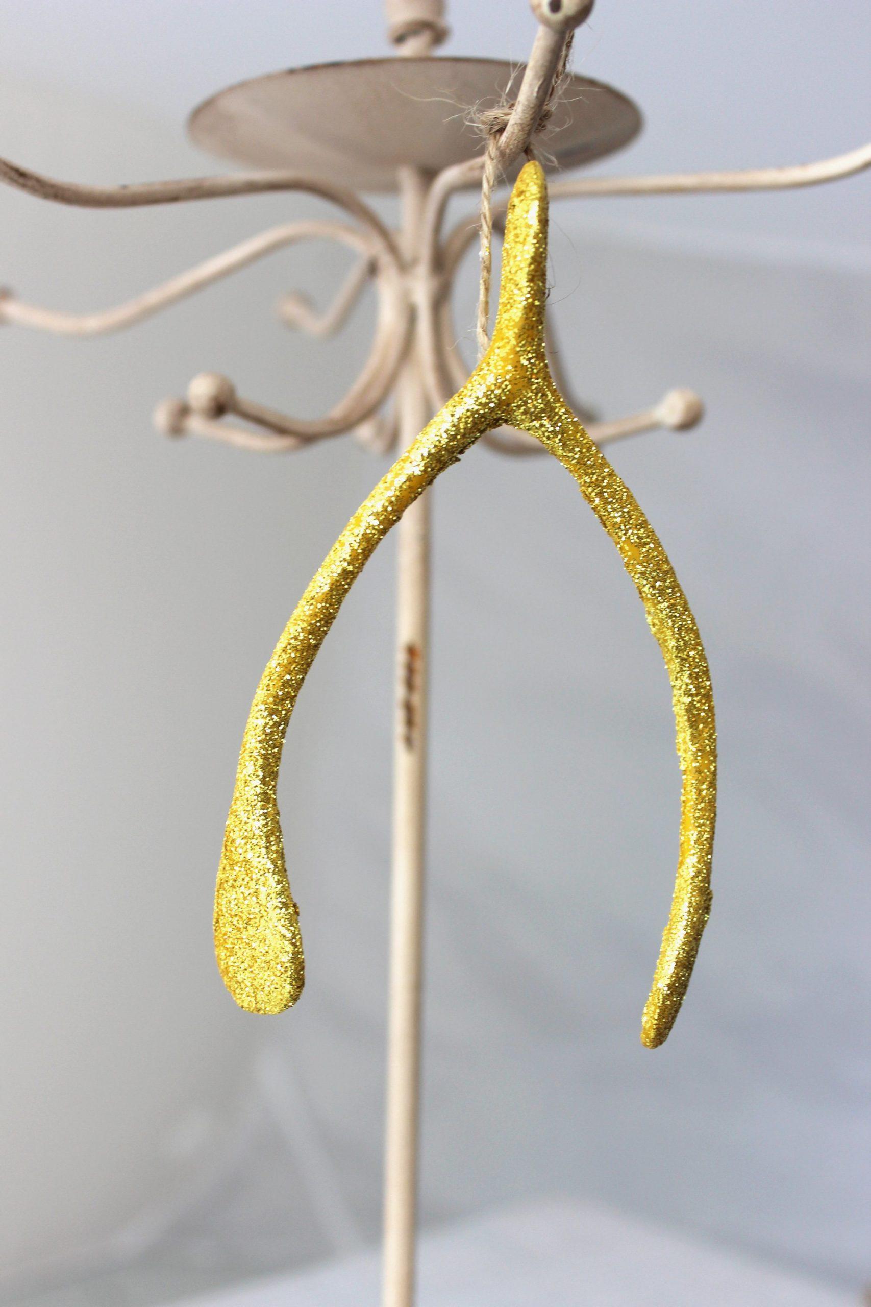 Gold Wishbone Ornament SALE Half Off Holiday