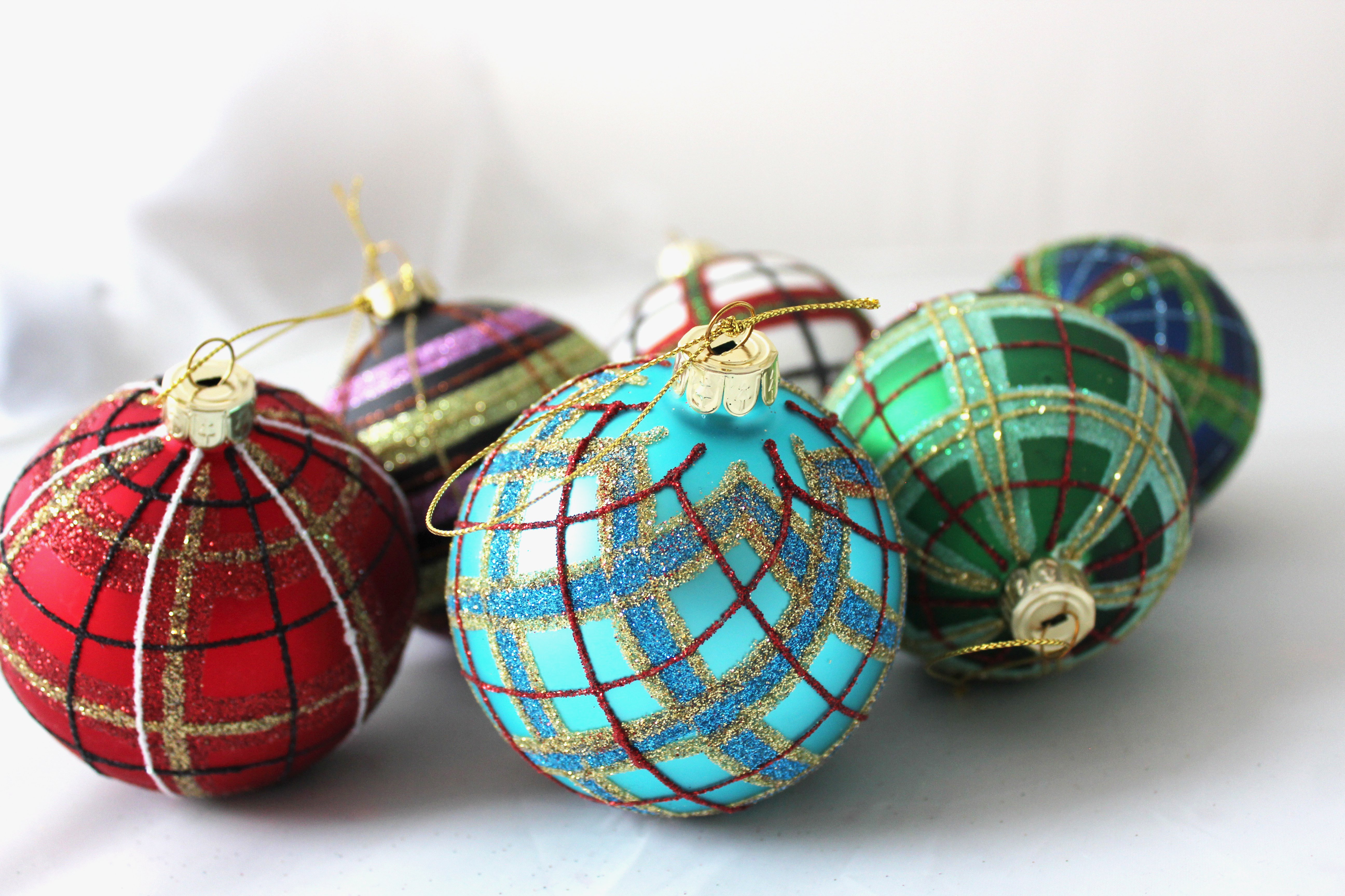 Pink and Gold Tartan Plaid Ornament SALE Half Off Holiday