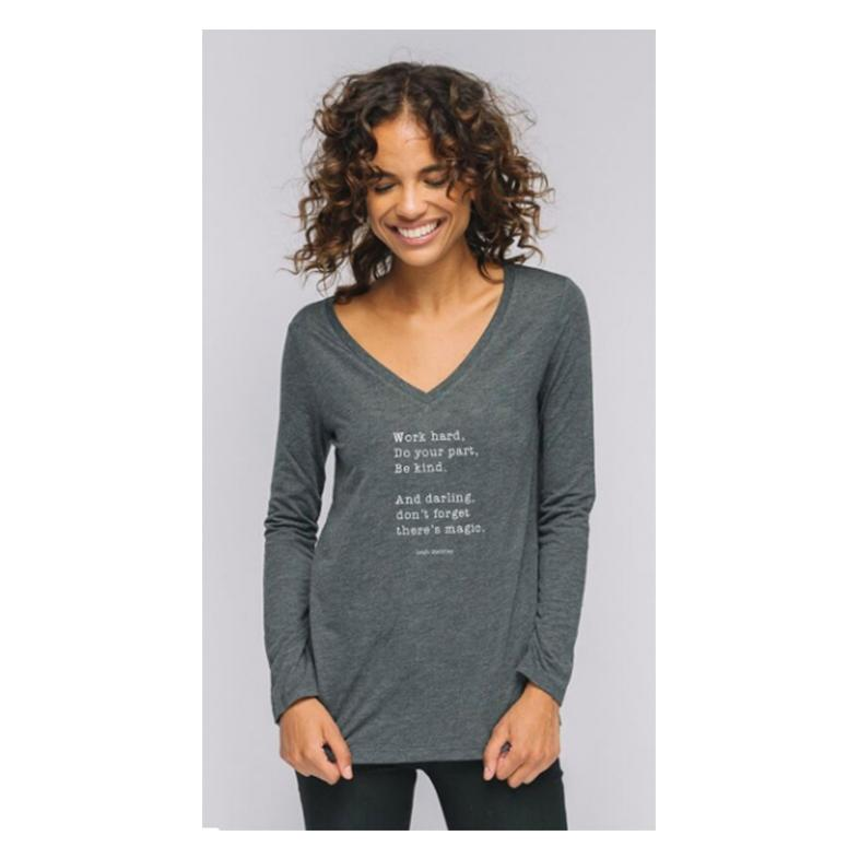 """""""Don't Forget There's Magic"""" V-Neck Long Sleeve Tee - Grey"""