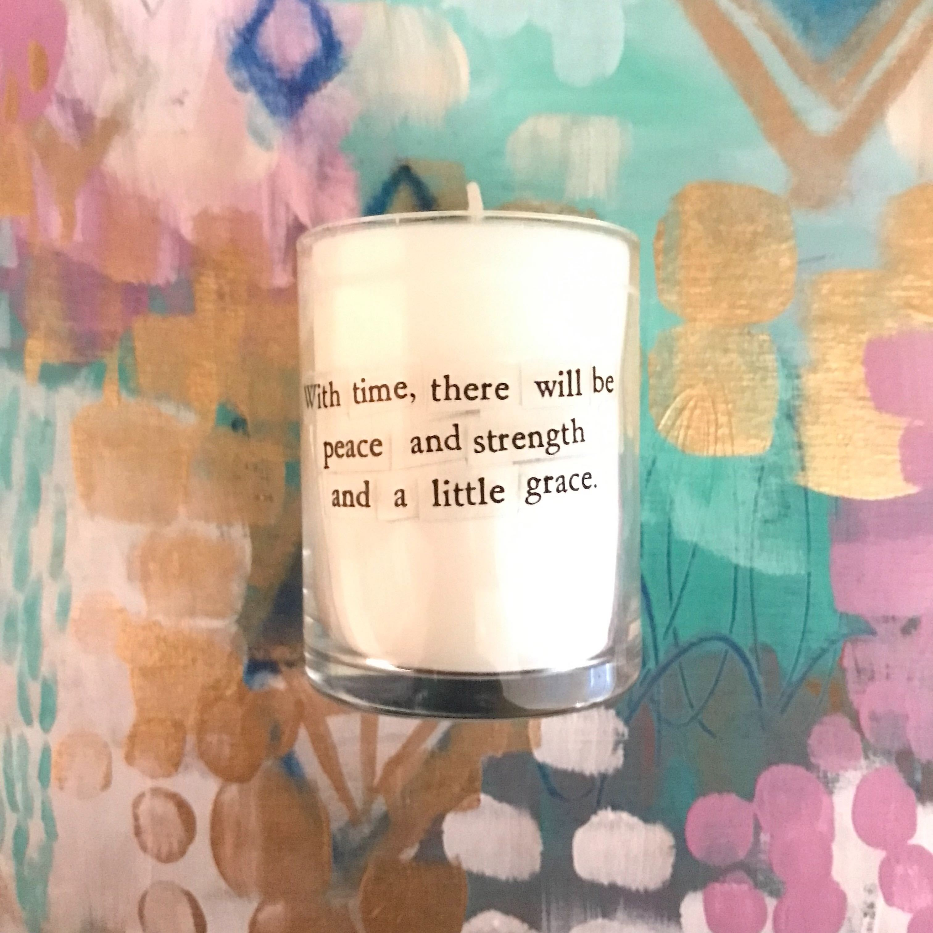 Peace, Strength and Grace Mini Candle