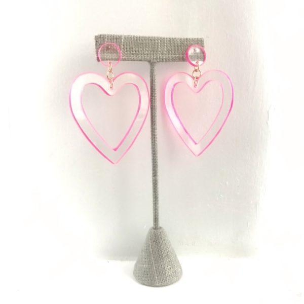 Open Heart, But Make it Neon Earrings